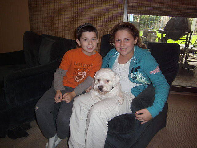 Dog with Lila and Isaac